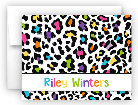 Rainbow Cheetah Animal Print Thank You Cards Note Card Stationery •  Flat, Folded or Fill-In-the-Blank