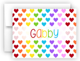 Rainbow Hearts Thank You Cards Note Card Stationery •  Flat, Folded or Fill-In-the-Blank