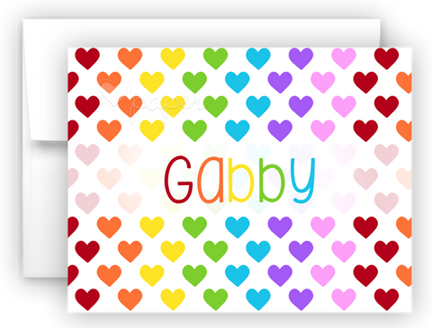 Rainbow Hearts Thank You Cards Note Card Stationery •  Flat or Folded Stationery Thank You Cards - Everything Nice