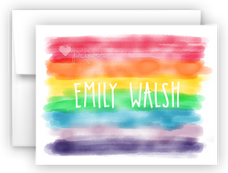 Watercolor Rainbow Stripes Thank You Cards Note Card Stationery •  Flat, Folded or Fill-In-the-Blank