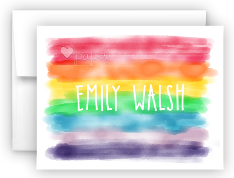 Watercolor Rainbow Stripes Thank You Cards Note Card Stationery •  Flat or Folded Stationery Thank You Cards - Everything Nice