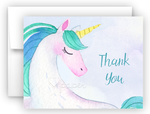 Unicorn n Thank You Cards Note Card Stationery •  Flat, Folded or Fill-In-the-Blank