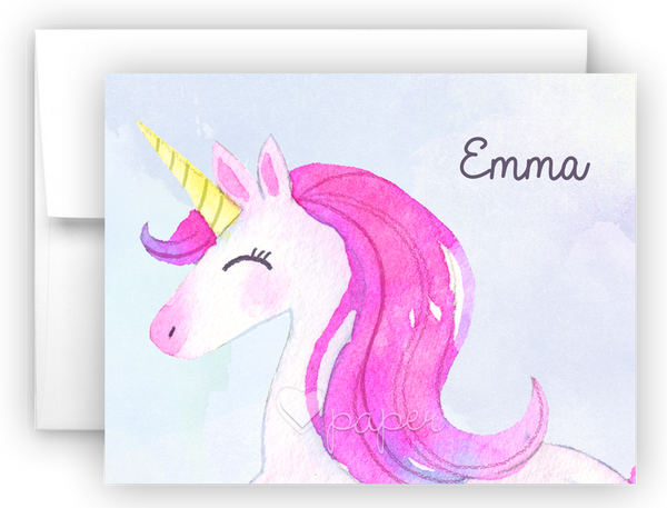 Unicorn r Thank You Cards Note Card Stationery •  Flat or Folded Stationery Thank You Cards - Everything Nice