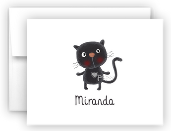 Black Cat Thank You Cards Note Card Stationery •  Flat or Folded Stationery Thank You Cards - Everything Nice