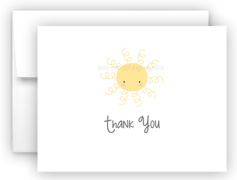 Sunshine Thank You Cards Note Card Stationery •  Flat, Folded or Fill-In-the-Blank