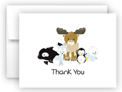 Arctic Friends Thank You Cards Note Card Stationery •  Flat, Folded or Fill-In-the-Blank Stationery Thank You Cards - Everything Nice
