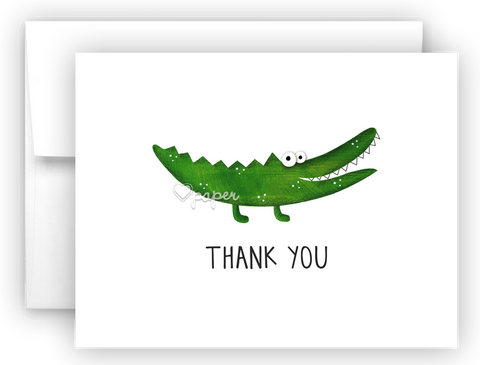 Alligator Thank You Cards Note Card Stationery •  Flat, Folded or Fill-In-the-Blank