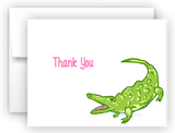Alligator Thank You Cards Note Card Stationery •  Flat or Folded Stationery Thank You Cards - Everything Nice
