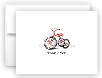 Tricycle Thank You Cards Note Card Stationery •  Flat or Folded Stationery Thank You Cards - Everything Nice