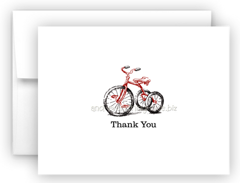 Tricycle Thank You Cards Note Card Stationery •  Flat, Folded or Fill-In-the-Blank