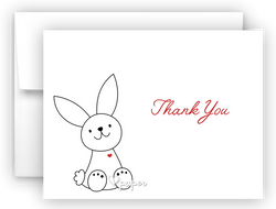 Bunny Rabbit III Thank You Cards Note Card Stationery •  Flat, Folded or Fill-In-the-Blank Stationery Thank You Cards - Everything Nice