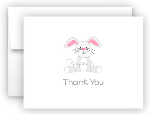 Bunny Rabbit II Thank You Cards Note Card Stationery •  Flat or Folded Stationery Thank You Cards - Everything Nice
