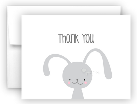 Bunny Rabbit Thank You Cards Note Card Stationery •  Flat or Folded Stationery Thank You Cards - Everything Nice