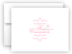 First Communion Thank You Cards Note Card Stationery •  Flat, Folded or Fill-In-the-Blank