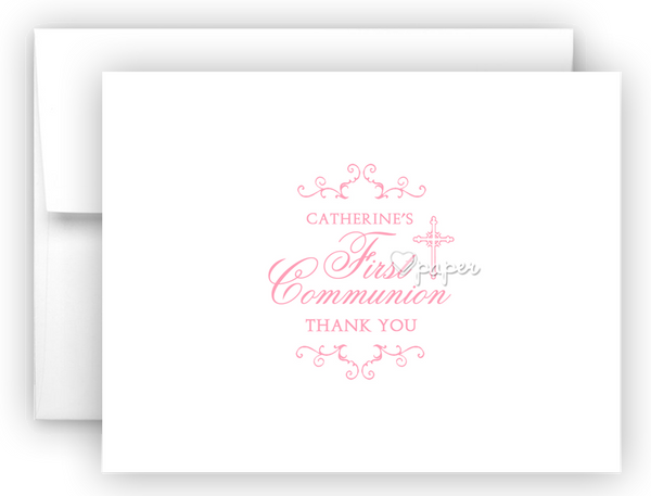 First Communion Thank You Cards Note Card Stationery •  Flat, Folded or Fill-In-the-Blank Stationery Thank You Cards - Everything Nice