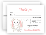 Floppy Bunny Rabbit Thank You Cards Note Card Stationery •  Flat, Folded or Fill-In-the-Blank Stationery Thank You Cards - Everything Nice