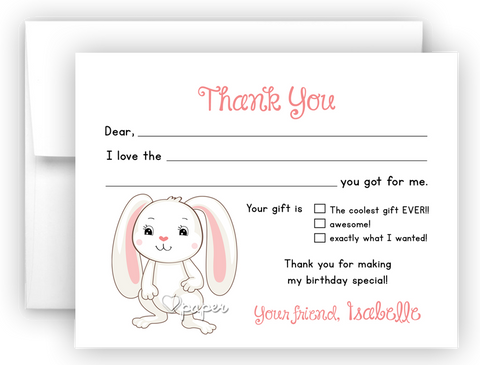 Floppy Bunny Rabbit Thank You Cards Note Card Stationery •  Flat, Folded or Fill-In-the-Blank