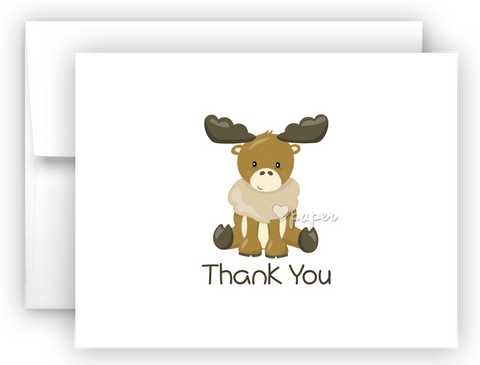 Moose Thank You Cards Note Card Stationery •  Flat, Folded or Fill-In-the-Blank