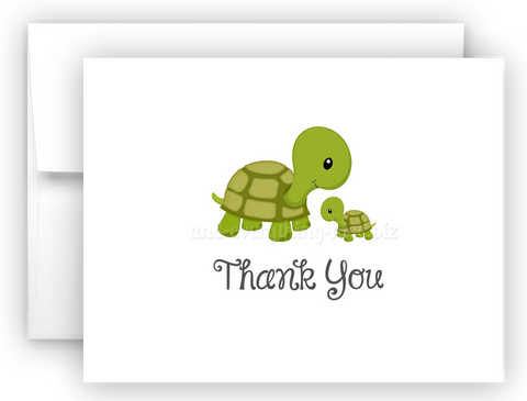 Turtle Thank You Cards Note Card Stationery •  Flat or Folded Stationery Thank You Cards - Everything Nice