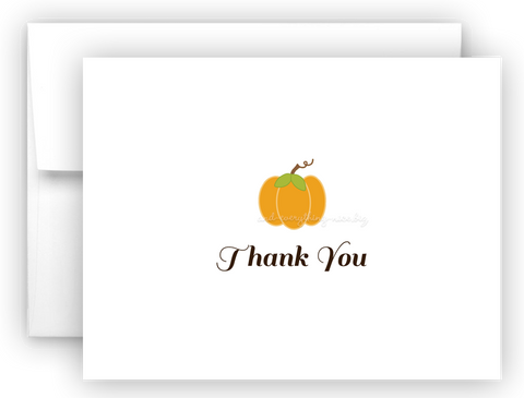 Pumpkin Thank You Cards Note Card Stationery •  Flat, Folded or Fill-In-the-Blank