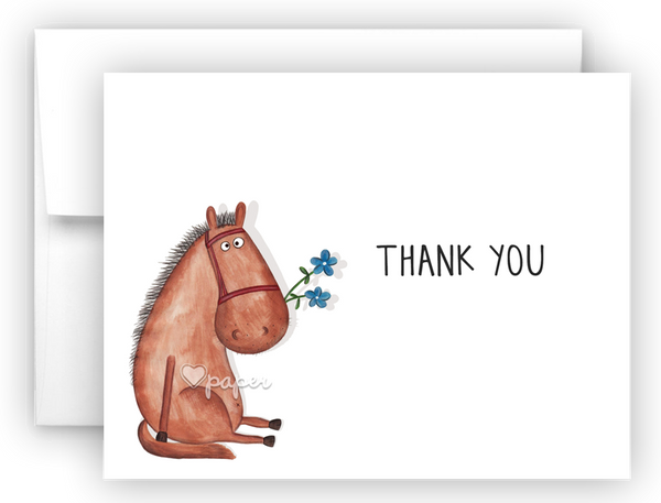 Horse Thank You Cards Note Card Stationery •  Flat or Folded Stationery Thank You Cards - Everything Nice