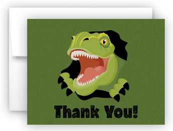 Dinosaur b Thank You Cards Note Card Stationery •  Flat or Folded Stationery Thank You Cards - Everything Nice