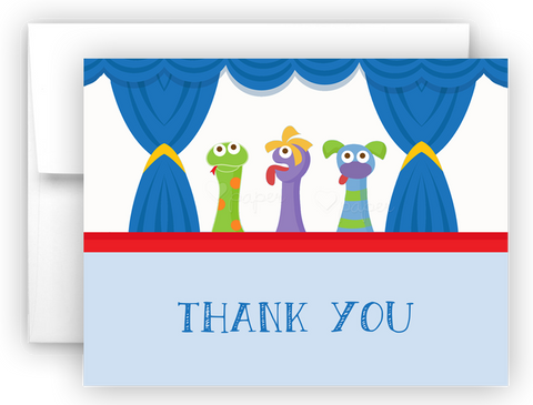 Puppet Show Thank You Cards Note Card Stationery •  Flat or Folded Stationery Thank You Cards - Everything Nice