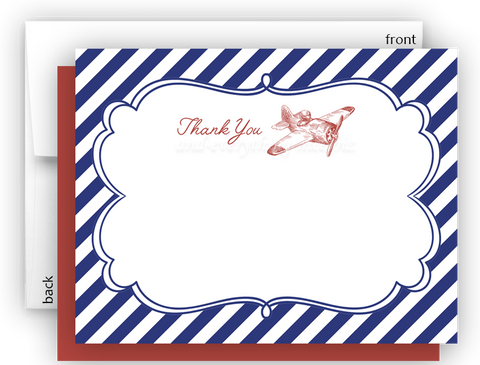 Vintage Airplane II Thank You Cards Note Card Stationery •  Flat, Folded or Fill-In-the-Blank