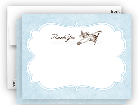Vintage Airplane III Thank You Cards Note Card Stationery •  Flat Cards Stationery Thank You Cards - Everything Nice
