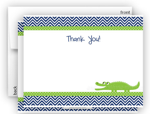 Alligator II Thank You Cards Note Card Stationery •  Flat, Folded or Fill-In-the-Blank