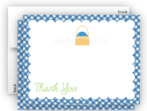 Blueberry Thank You Cards Note Card Stationery •  Flat, Folded or Fill-In-the-Blank Stationery Thank You Cards - Everything Nice
