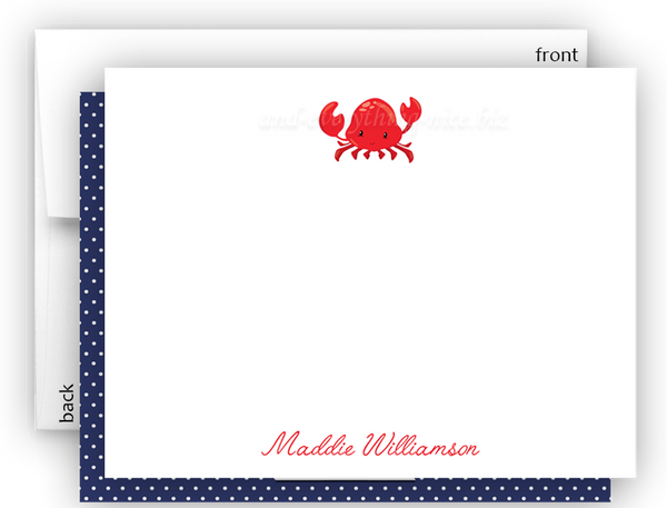 Crab b Thank You Cards Note Card Stationery •  Flat, Folded or Fill-In-the-Blank