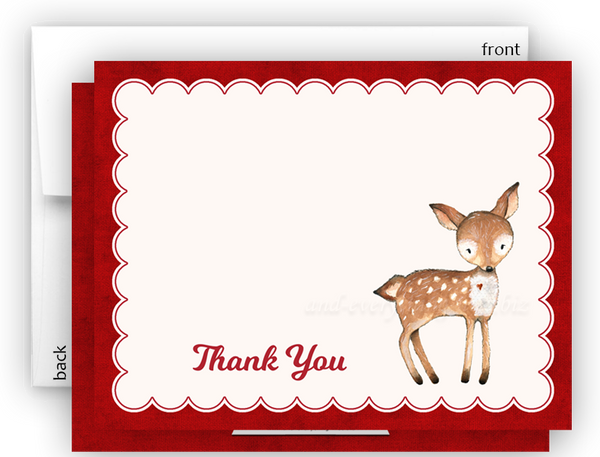 Deer b Thank You Cards Note Card Stationery •  Flat, Folded or Fill-In-the-Blank