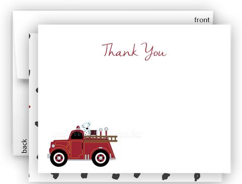 Firetruck b Thank You Cards Note Card Stationery •  Flat Cards Stationery Thank You Cards - Everything Nice