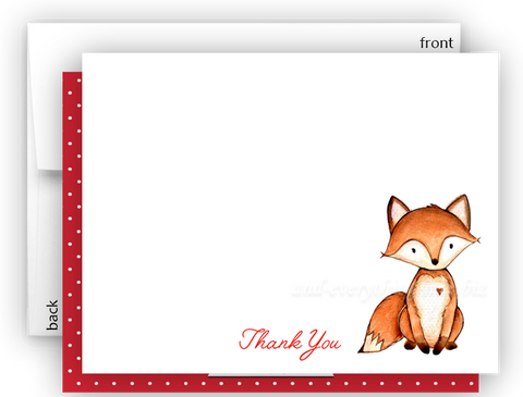 Fox g Thank You Cards Note Card Stationery •  Flat Cards Stationery Thank You Cards - Everything Nice