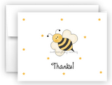 Bumble Bee II Printed Thank You Cards • Folded Flat Note Card Stationery