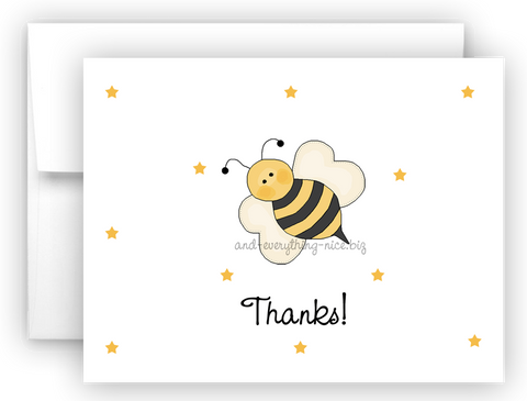 Bumble Bee II Printed Thank You Cards • Folded Flat Note Card Stationery Stationery Thank You Cards - Everything Nice