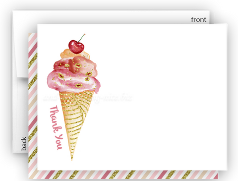 Ice Cream Thank You Cards Note Card Stationery •  Flat, Folded or Fill-In-the-Blank