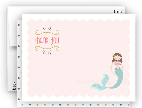 Mermaid o Thank You Cards Note Card Stationery •  Flat Cards Stationery Thank You Cards - Everything Nice