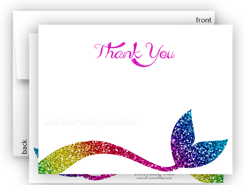 Mermaid q Thank You Cards Note Card Stationery •  Flat Cards Stationery Thank You Cards - Everything Nice