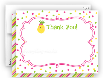 Polka Dot Pineapple Thank You Cards Note Card Stationery •  Flat Cards Stationery Thank You Cards - Everything Nice