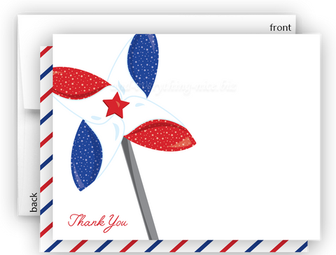 Red White & Blue Pinwheel Thank You Cards Note Card Stationery •  Flat, Folded or Fill-In-the-Blank Stationery Thank You Cards - Everything Nice