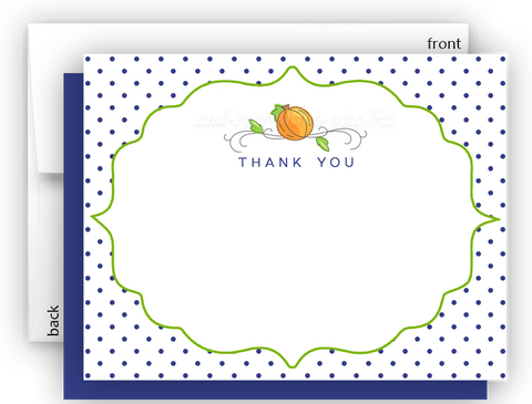 Pumpkin c Thank You Cards Note Card Stationery •  Flat Cards Stationery Thank You Cards - Everything Nice