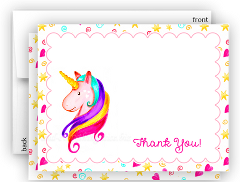 Rainbow Unicorn t Thank You Cards Note Card Stationery •  Flat Cards Stationery Thank You Cards - Everything Nice