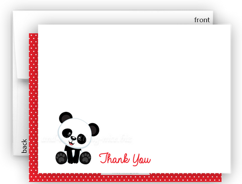 Panda Bear h Thank You Cards Note Card Stationery •  Flat Cards Stationery Thank You Cards - Everything Nice