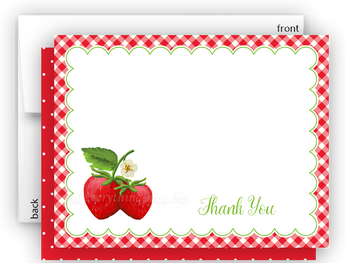 Strawberry II Thank You Cards Note Card Stationery •  Flat, Folded or Fill-In-the-Blank Stationery Thank You Cards - Everything Nice