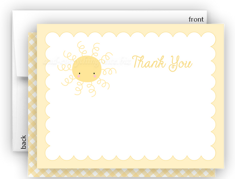 Sunshine b Thank You Cards Note Card Stationery •  Flat Cards Stationery Thank You Cards - Everything Nice