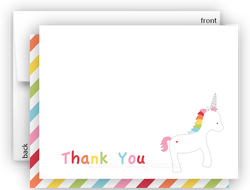 Rainbow Unicorn v Thank You Cards Note Card Stationery •  Flat, Folded or Fill-In-the-Blank Stationery Thank You Cards - Everything Nice