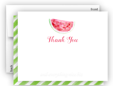 Watermelon Thank You Cards Note Card Stationery •  Flat, Folded or Fill-In-the-Blank