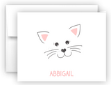 Cat Face Thank You Cards Note Card Stationery •  Flat or Folded Stationery Thank You Cards - Everything Nice